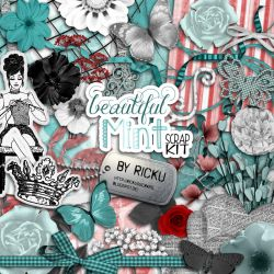Digital Scrapbooking - Beautiful Mint Scrap-Kit by Rickulein
