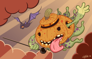 Descent of Octopumpkipus by sweetlygrotesque