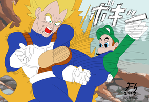 Hotel Luigi Breaks Vegeta's Arm by fastfroob