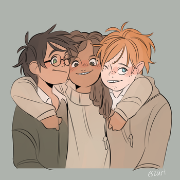 harry with friends by eszart