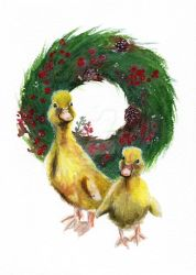 Ducklings Christmas Illustration by ginkgojulep