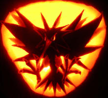 Zapdos carved on a Pumpkin