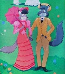 Early 1900's Wolf Couple by FlapperFoxy