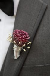Red Wire Beaded Boutonniere by slightly-caustic