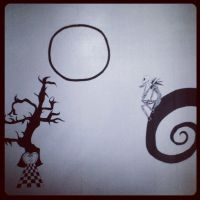 Tim Burton Inspired Mural by CloudySkyCupcake