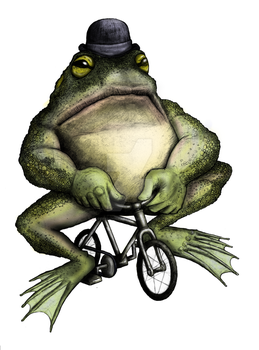 bullfrog on a bike by Coffeehouseartist