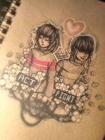 - Frisk and Chara - Undertale - by Cloudnixus