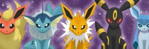 Eevee and Evolutions by AE-Viatrix