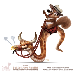 Daily Paint 1913# Bullsnake Riding by Cryptid-Creations