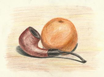 Still life with smoking pipe and orange by tulvit