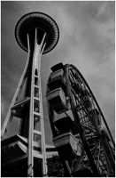 Space Needle and Ferris Wheel by rivaraftin1977