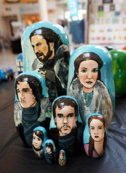 Set of Game of Thrones Nesting Dolls (The Starks) by bachel60