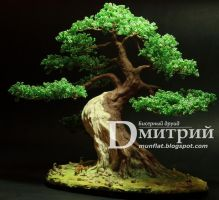 Beaded tree - Night Lamp Bonsai in sharimiki-style by BeadedDruid