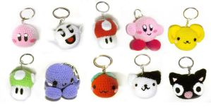 Mini amigurumi Keychains by vrlovecats