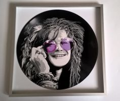 Janis Joplin painted on vinyl record by vantidus
