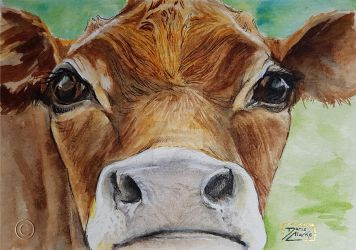 World Watercolor Month - Day 23 (Dairy Cow) by Harmony1965
