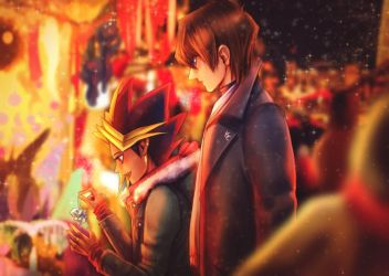 Christmas market with Atem and Seto by ellenchain