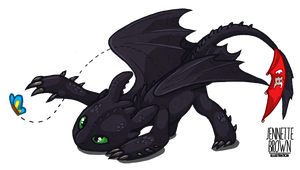 Toothless and the Butterfly by sugarpoultry