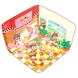 Lunchtime, in Onett's burger shop by Creamsouffle