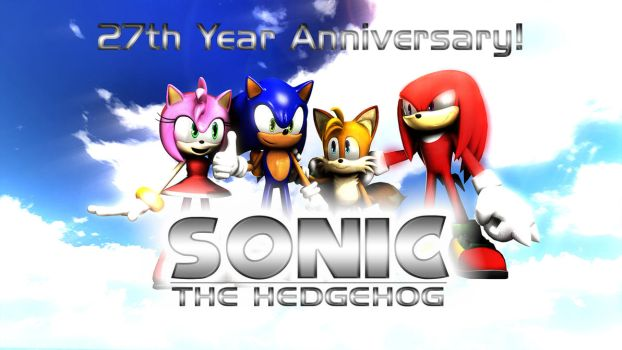 Sonic The Hedgehog - 27th Year Anniversary by TheRaiBone12
