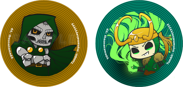 Doctor Doom + Loki Buttons by TheonenamedA
