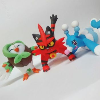 Pokemon Sun Pokemon Moon Brionne Dartrix Torracat by tatanRG