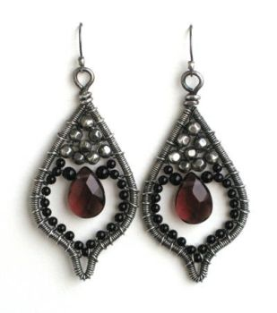 onyx and amethyst earrings by annie-jewelry