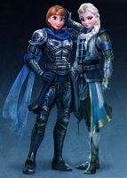 Anna and Elsa: Knight and Mage by Dragoon23
