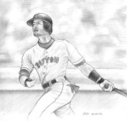 nomar garciaparra -pencil by LisaCrowBurke