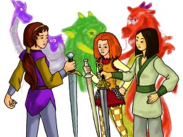 Girls with Dragons and Swords by Spidar