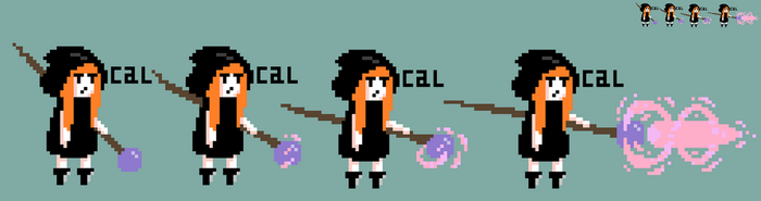 Little Cloaked Witch Sprite Animation Frames by CalDraws