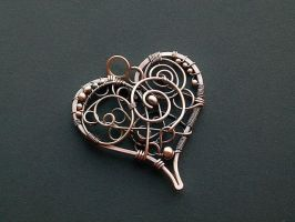 Heart pendant with spirals by SilverDeFactory