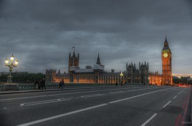 Imperial London - twilight on the bridge by Rikitza