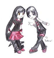 Chibi couple Black and Red by DimsumPanda