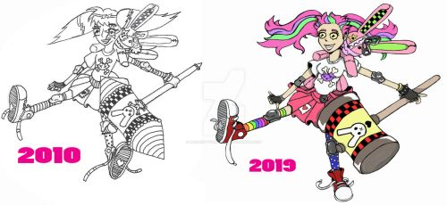 Insane Bunnies 2010 And 2019 by Mrs13Kitty13Doodle