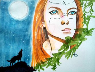 Moon lady by Lanterne-Bleue
