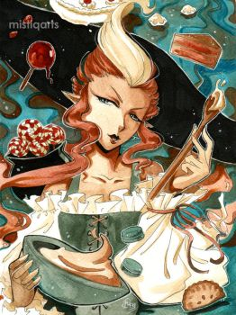 Candy Witch Watercolor illustration by Mistiqarts