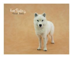 Miniature 1:12 White Guardian Wolf by Pajutee