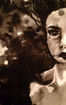 Alice Portrait - brush ink painting by laurie-liz