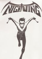 Nightwing (Black and White) by The-Winter-Phoenix