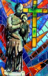 Statue and stained glass by Onyana