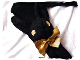 Black and Gold Bunny Scarf by Cateaclysmic