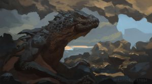 Dragon in a sea cave by RAPHTOR