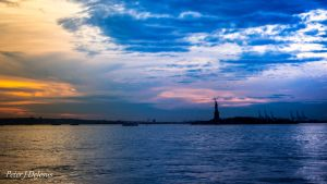 New York Harbor Sunset by peterjdejesus