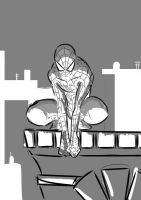 spidey black and white by scarecrowhassan
