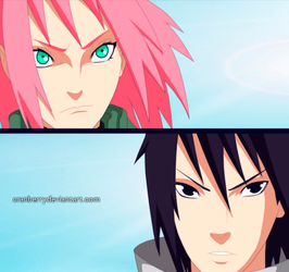 Naruto 632  Sakura and Sasuke by TemariSabak