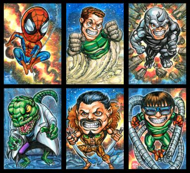 SPIDER-VERSE CHIBIS SKETCH CARDS by AHochrein2010