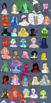 Gemsona List (updated) by LewieToons