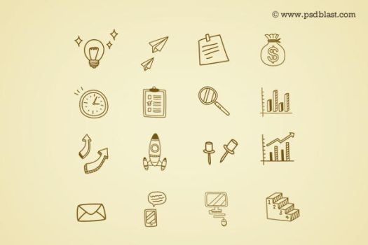Hand Drawn Business Icon (PSD) by psdblast