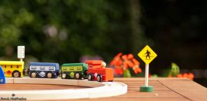 Train is coming. Wooden playset by framafoto